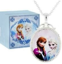 "Disney Frozen Necklace 16"" with Anna/Elsa: Music Box plays""Let It Go"" Silvertone"