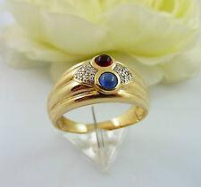 schwerer Ring Gold 585 mit Saphir Rubin und Diamanten Gr. 63/ 6,58 g (20013)