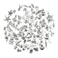 100pcs Antique Silver Mixed Sea Animals Charms Pendants DIY Making Craft