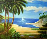 South Pacific Island Cove Sailboats Sand Palm Trees 20X24 Oil Painting Stretched