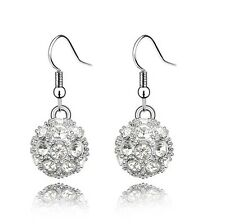 Shamballa Style White Crystal Disco Ball Drop Dangling Earrings E110W