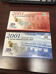 2001 Mint Uncirculated Coin Sets P&D  - Total 20 coins