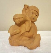 Vintage Dave Grossman Designs Clay Sculpture Of A Boy With A Rabbit - 72'