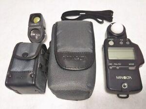 MINOLTA AUTO METER IV F Flash Light Meter w/View Finder, Case & Strap Japan 777
