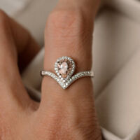 Natural Pear Pink Morganite Diamond Engagement Ring Solid 14K White Gold Jewelry