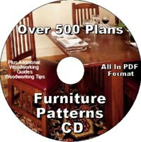 OVER 500 FURNITURE PLANS   PLUS BONUS SHOP  PROJECTS  ALL ON ONE CD