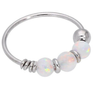 9ct Carat Genuine White Gold Rainbow Colour Opal Beads Nose Hoop Ring 8mm