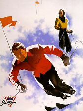 ADVERTISING SPORT CLOTHES JANTZEN WINTER SKI SNOW SLALOM ART POSTER PRINT LV1147