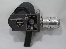 Ancienne camera PATHÉ WEBO 16 M + objectif BERTHIOT 1:2.8 Pan-Cinor + poignée