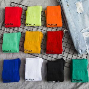 Fashion Solid Color Trendy Socks Letter Cotton Tube Socks Ladies Girls Pile Sock