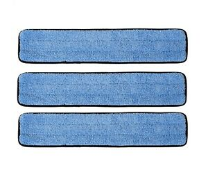 """(3) 36"""" Commercial Microfiber Wet Damp Mop Refill Pads with Flags by Real Clean"""