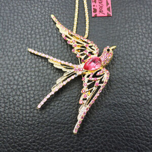 Charm Pink Crystal Cute Swallow Bird Betsey Johnson Pendant Necklace /Brooch