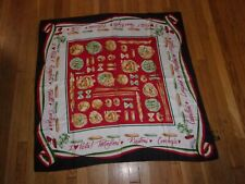 "Bob Mackie wearable art SILK scarf I love (heart) pasta macaroni 42"" square EUC"