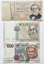 3 x ITALY BANKNOTES 1000 LIRA/LIRE ITALIA BANCONOTA PRE-EUROS EU ITALIAN MONEY