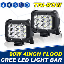 2X Tri Row 4inch 90W CREE LED Work Light Bar Flood Boat Driving Lamp 4WD ATV SUV