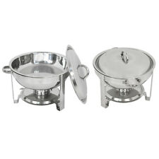 2 Pack Catering Stainless Steel Chafer Chafing Dish Sets 5 Qt Round Buffet