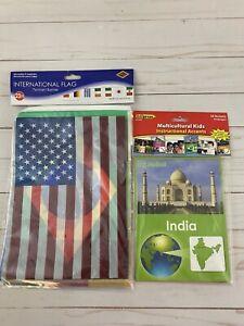 EDUPRESS  Multicultural Teaching Accents & International Flag Banner Lot NEW
