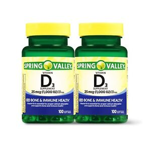 New Spring Valley Vitamin D3 Softgels 1000 IU 100 Ct 2 Pk