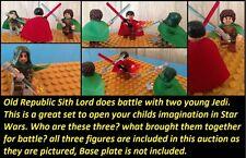Custom Lego Star Wars Old Republic Sith Lord and 2 Jedi Dual! 3 Fig Set!