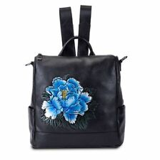 New Women Genuine Cow Leather Backpack Shouler Bag Flower Embossed Handbag Blue