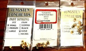 Wapsi Gold Tungsten Coneheads Choice of Size & Quantity ( One Package )