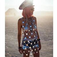 Women Fishnet Knitting Acrylic Sequins Dresses Bikini Set Jewel Metal Body Chain