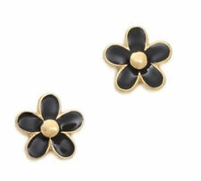 Pretty Marc by Marc Jacobs Gold Black Enamel Flower Stud Pierced Earrings