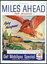 1947 Pegasus red flying house desert color art Mobil Oil vintage print ad