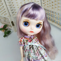 Blythe Nude Doll from Factory Purple And Pink Curly Hair With Make-up Eyebrow