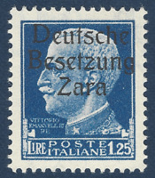 1943 GERMANY OCC ITALY ZARA BESETZUNG 1.25 LIRE STAMP #10 MNH OG STAMP
