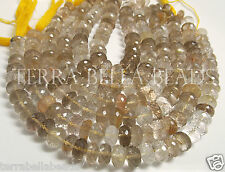 "4.5"" half strand gold RUTILATED QUARTZ faceted gem stone rondelle beads 10mm"