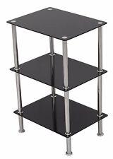 Black Glass 3 Tier Wide Shelving Unit Shelf Storage Cabinet Metal Chrome Legs