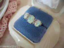 Antique Art Deco Jewellery White Gold Opal Sapphire Dress Ring Vintage Jewelry
