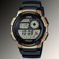 Casio AE1000W-1A3 Digital Map Watch 10 Year Battery World Time 5 Alarms New