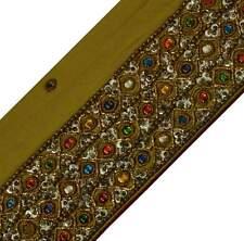 VERDE ANTICO VINTAGE Sari indiano bordo Craft Trim a Mano con Perline Nastro in pizzo