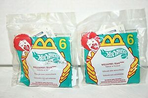 LOT NEW (2) McDonalds Happy Meal Toy Hot Wheels Williams F1 Team vehicle  2000