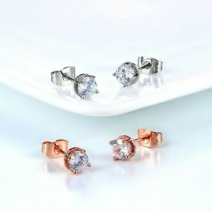 18K REAL ROSE WHITE GOLD PLATED STUD EARRINGS MADE WITH SWAROVSKI CRYSTALS RG39