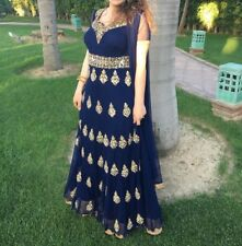 navy blue long anarkali style dress with antique Gold embroidery, size small