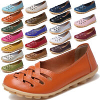 Women Leather Loafers Round Toe Casual Flats Slip On Sneakers Driving Shoes Size