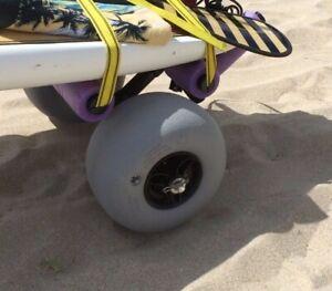 "Super Duty Kayak Balloon Beach Cart Wheels 11.8"" Low Pressure Sand Tires Paired"