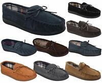 Mens Moccasin Slippers Genuine Suede Leather Loafers Warm Lined Shoes