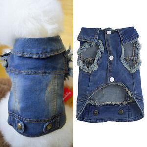 Fashion Pet Dog Cat Blue Jean Denim Puppy Coat Jacket Clothes Costume Apparel