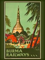 Burma Railways Burmese Southeast Asia Vintage  Travel Poster Advertisement