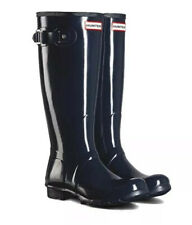 NIB Woman's Hunter Original Tall Gloss Rain Boots Navy Blue Waterproof Size 10