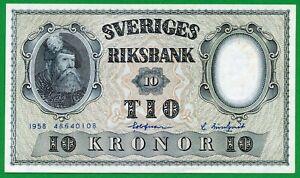 SWEDEN 10 KRONOR (P43f) 1958 UNC
