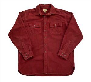 Vintage L.L. Bean USA Soft Chamois Cloth Flannel Pocket Shirt - Burgundy L / XL