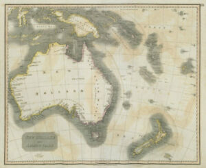 """New Holland & Asiatic islands"" Australia New Zealand Polynesia THOMSON 1817 map"