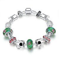 Damen Bettel Armband Beads Charms Blüte Herz schwarz weiß pl. mit Sterlingsilber