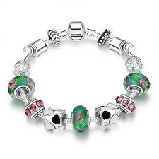 FEMME breloque bracelet BEADS FLEUR CŒUR NOIR BLANC pl. avec argent sterling