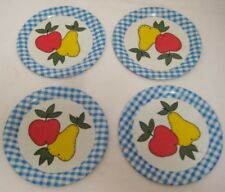 "4 Beautiful Antique Tin Litho Toy Tea Set Fruit Dishes 4"" Apple & Pear 1940s-50s"
